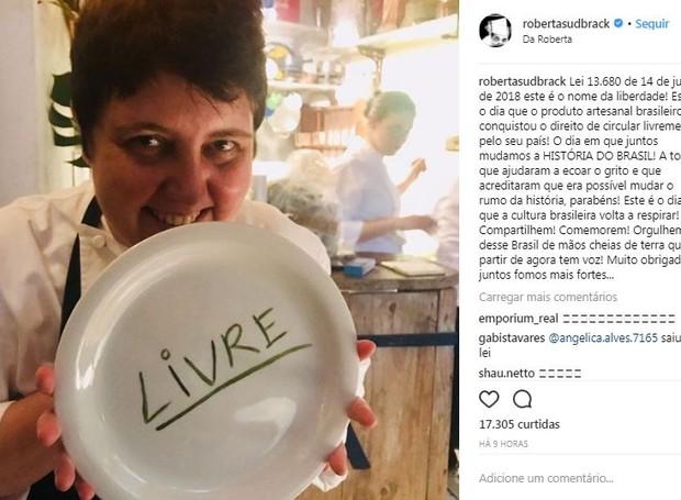 Post da chef Roberta Sudbrack (Foto: Instagram/Reprodução)