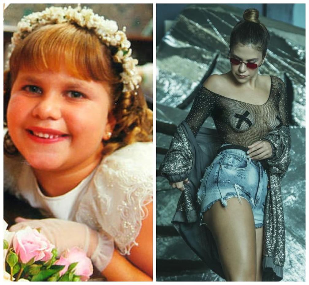 Thais Müller em 'O Cravo e a Rosa' e agora, vinte anos depois, como musa de Carnaval — Foto: Vinícius Mochizuki/Divulgação