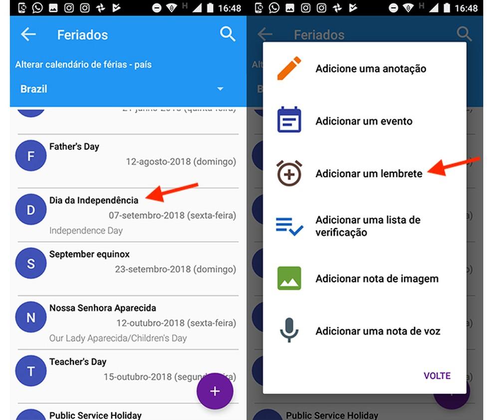 Ação para acessar a tela para configuração de lembretes para folgas do app Feriados 2018 (Foto: Reprodução/Marvin Costa)