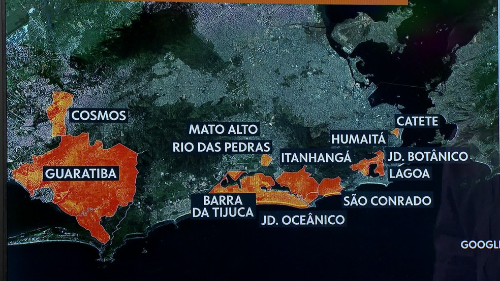 Localização dos principais pontos de alagamento no Rio do começo da tarde desta terça-feira (22) — Foto: Reprodução/ TV Globo