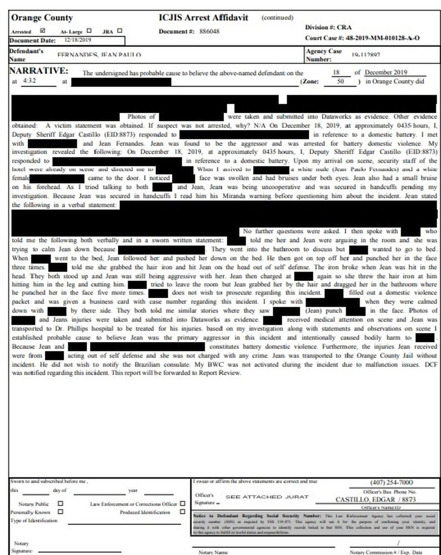 Documento na polícia americana que reporta o caso de agressão de Jean a sua esposa Milena Bemfica nos Estados Unidos — Foto: GloboEsporte.com
