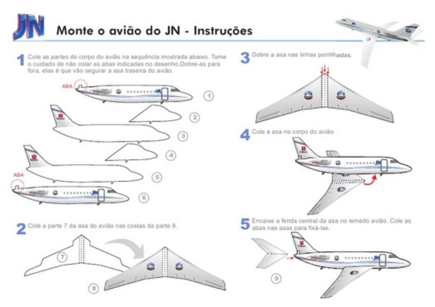 Moldes De Aviao Para Imprimir: Paper Toy: Avião Do JN No Ar