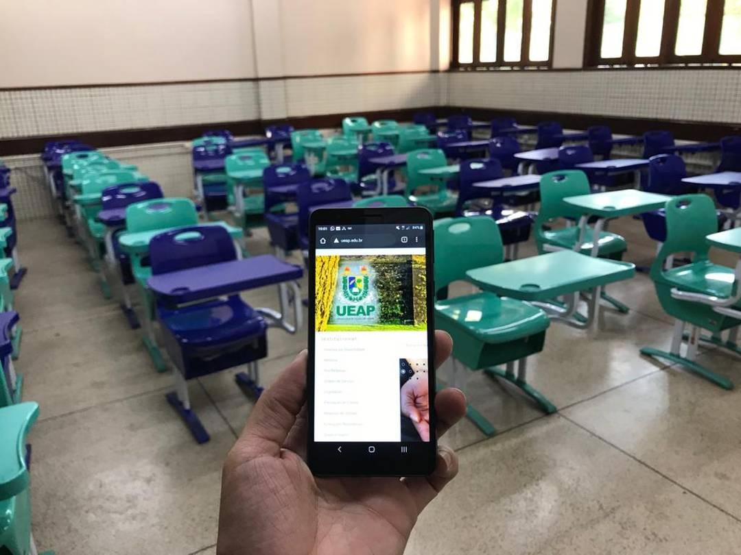 Aulas da Ueap acontecem por meio de uma plataforma on-line