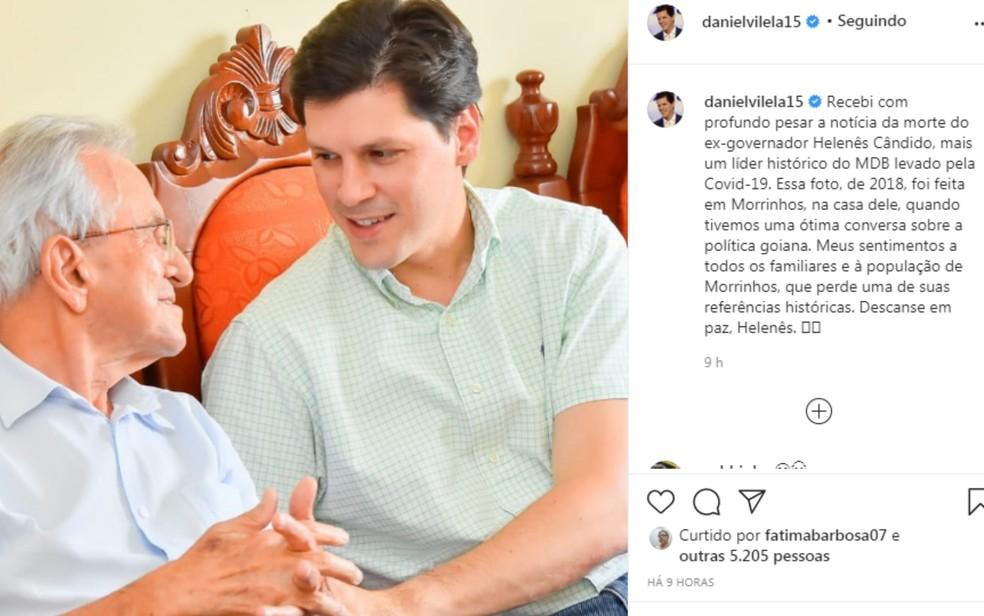 Presidente do MDB em Goiás, Daniel Vilela lamentou nas redes sociais a morte do ex-governador Helenês Cândido — Foto: Reprodução/Instagram
