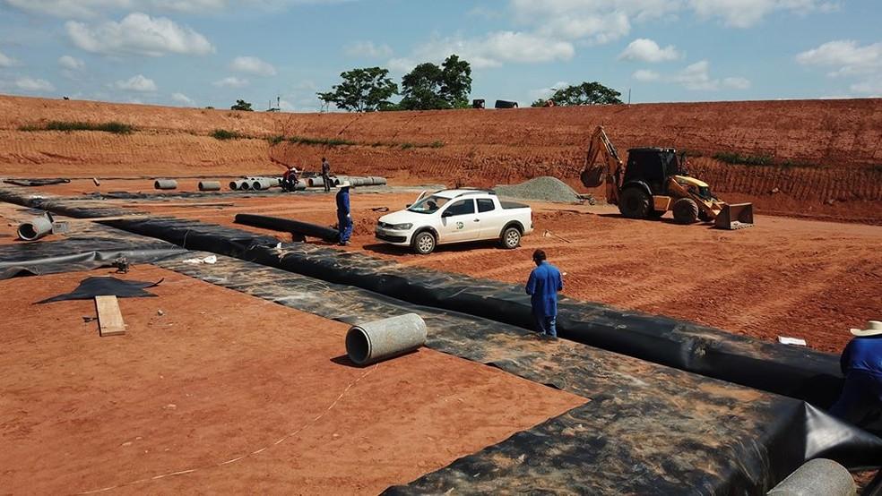 Conforme a prefeitura de Jaru, obra do aterro sanitário está 70% concluída.  — Foto: Divulgação/Prefeitura de Jaru