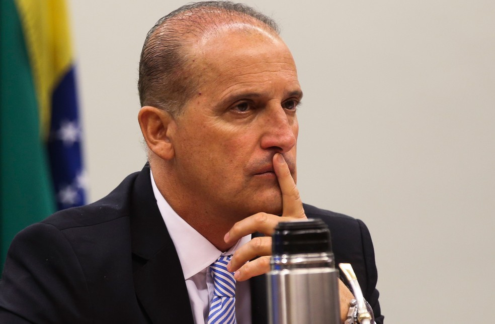 O deputado Onyx Lorenzoni (DEM-RS) em sessão de comissão na Câmara — Foto: Antonio Cruz/Agência Brasil