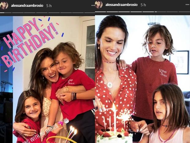 Alessandra Ambrosio celebra 37 anos com os filhos (Foto: Reprodução/Instagram)