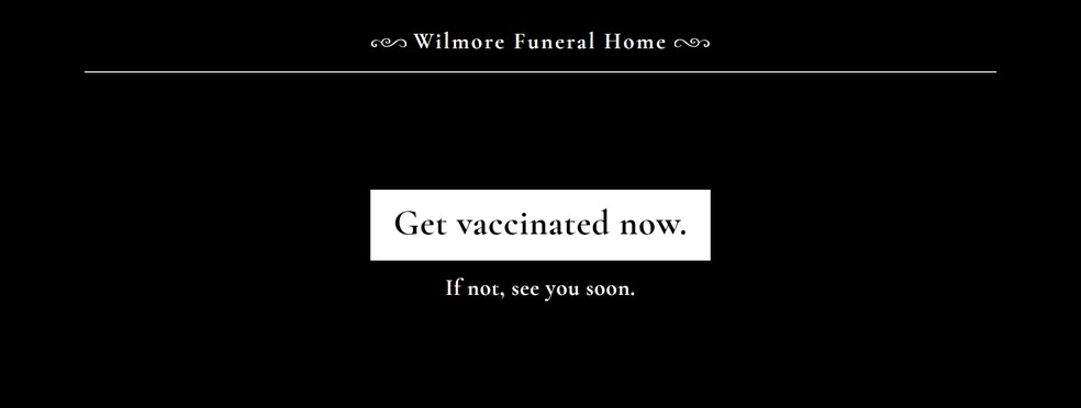 Site registrado em nome da Wilmore Funeral Home — Foto: Reprodução/wilmorefuneralhome.com