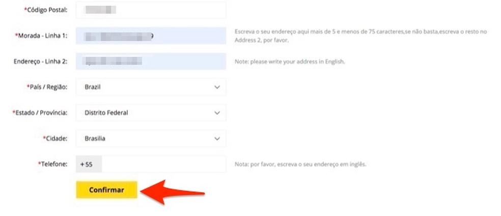 Ação para configurar e salvar um endereço de entrega em uma conta de usuário do site de vendas Gearbest â?? Foto: Reprodução/Marvin Costa