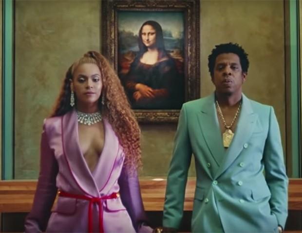 Beyoncé e Jay-Z diante da Mona Lisa, no Museu do Louvre (Foto: Divulgação)