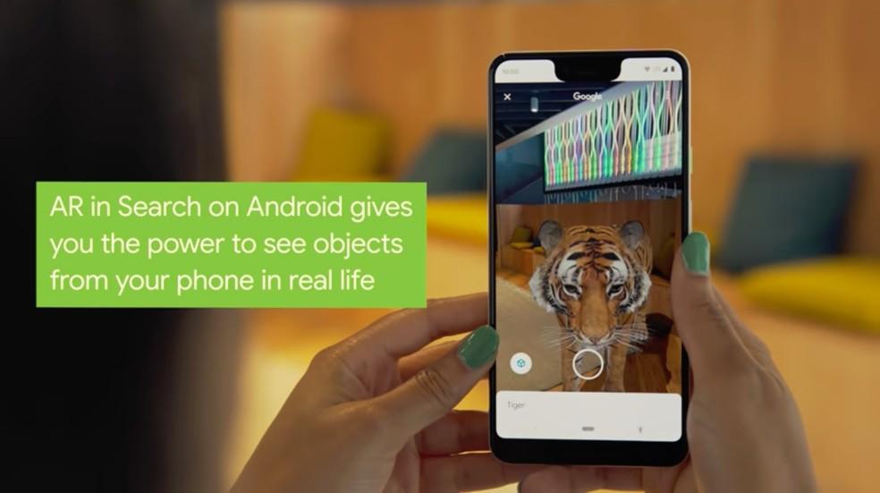 Com a função de Realidade Aumentada do Android 10 será possível combinar resultados de pesquisas com imagens tridimensionais.  — Foto: Reprodução/Google