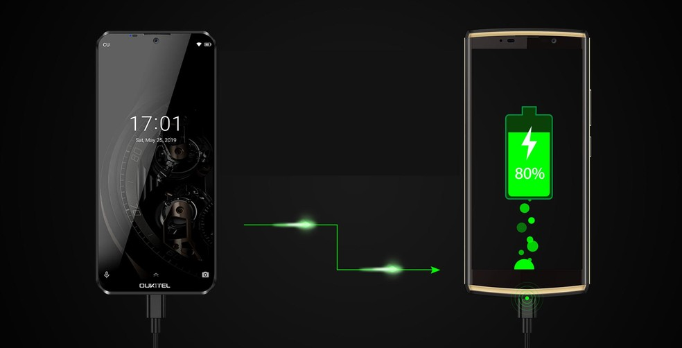 Bateria de 10.000 mAh pode recarregar outros aparelhos — Foto: Divulgação/Oukitel