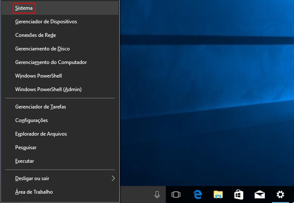 Acessando a opção 'Sistema' no menu de contexto do Windows — Foto: Edivaldo Brito/TechTudo