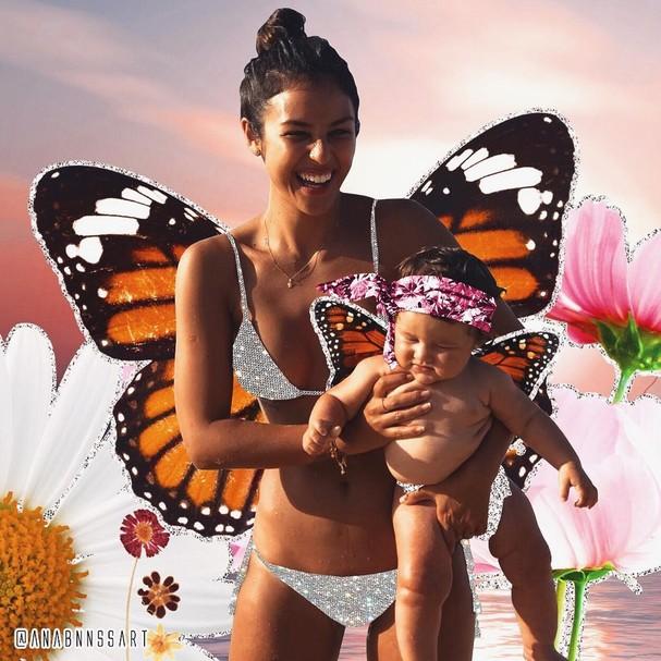 Celebridades viram borboletas e sereias em montagens (Foto: Reprodução / Instagram)