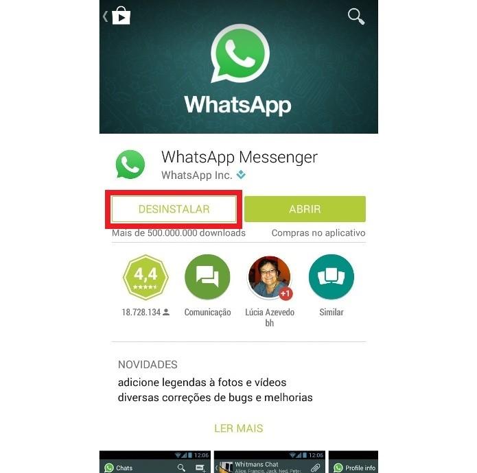 Desisntalando o WhatsApp no Android (Foto: Reprodução/Lívia Dâmaso)