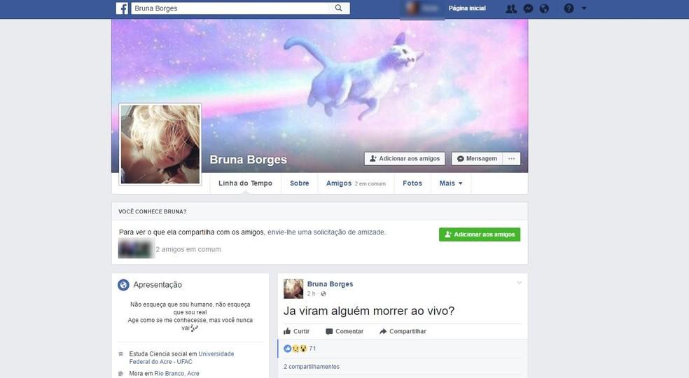 Bruna fez transmissão ao vivo pelo Instagram e anunciou ato no Facebook  (Foto: Reprodução/Facebook )