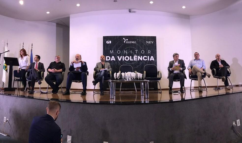 Representantes de candidatos à Presidência, em Brasília, durante debate sobre segurança pública organizado pelo Monitor da Violência, do G1 (Foto: Gustavo Garcia / G1)
