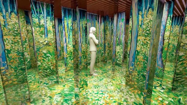 Paisagens feitas por van Gogh são replicadas em espaços com espelhos (Foto: Divulgação)