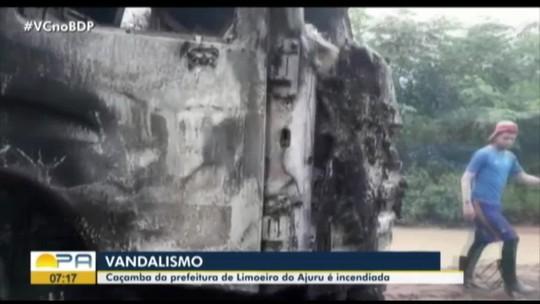 Única caçamba que recolhia lixo é incendiada em Limoeiro do Ajuru