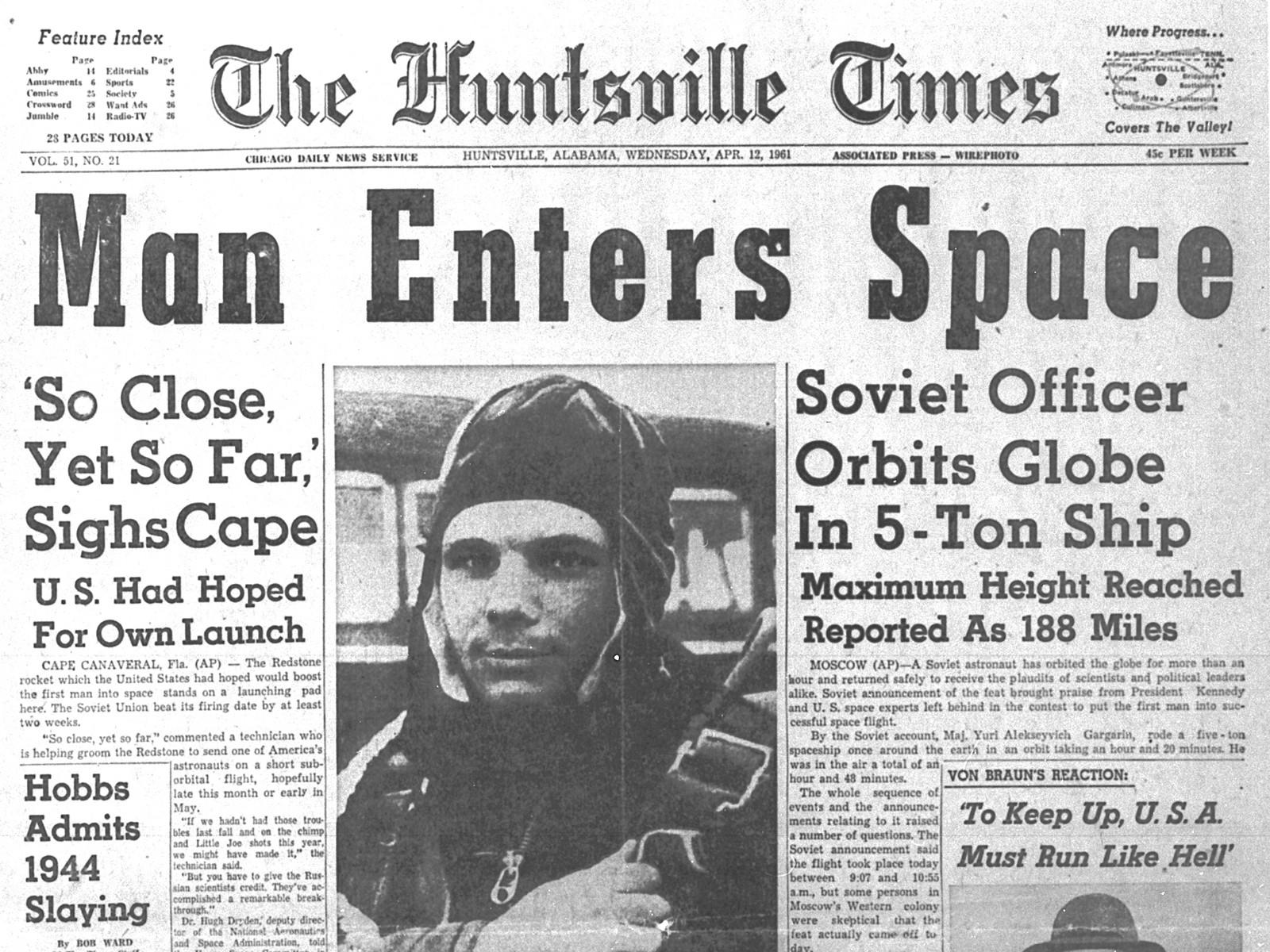 A bordo de la nave espacial Vostok 1, Gagarin entró en órbita y completó un bucle de 108 minutos alrededor de la Tierra el 12 de abril de 1961 (Foto: NASA)