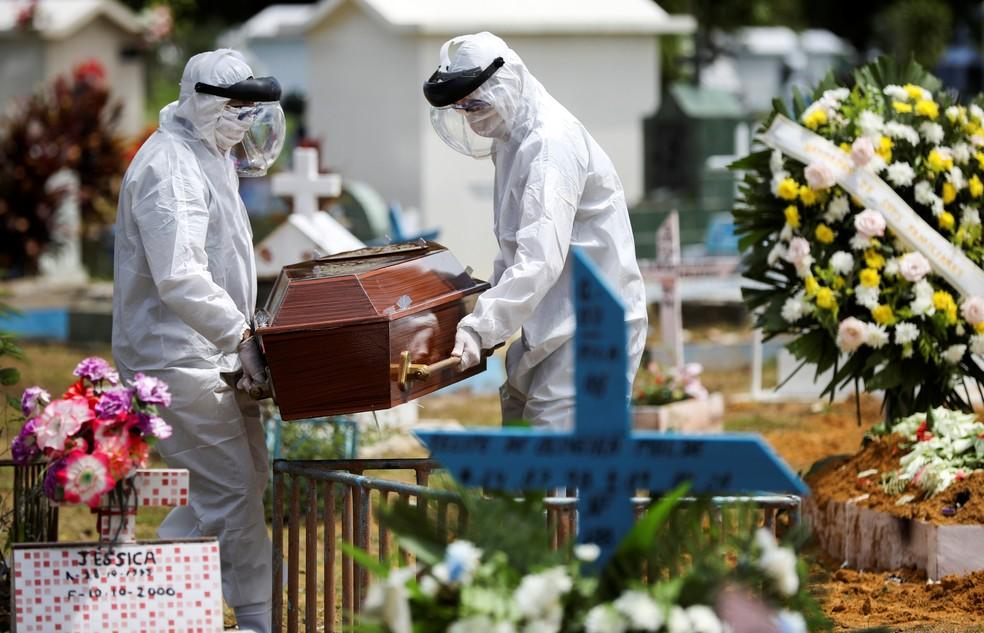 Caixão de vítima do coronavírus é enterrado em cemitério de Manaus, no Amazonas — Foto: Bruno Kelly/Reuters