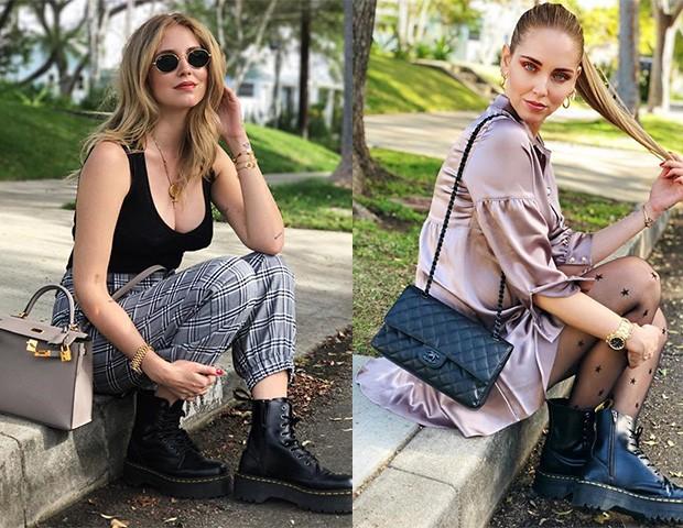 A blogueira Chiara Ferragni é super adepta das botas pesadas (Foto: Instagram / Montagem )