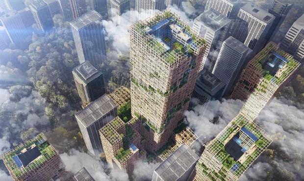Projeto da Sumitomo Forestry quer construir o maior prédio de madeira do mundo (Foto: Divulgação Sumitomo Forestry)