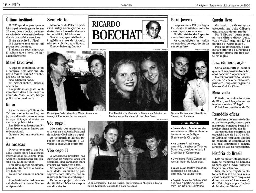 Reprodução da coluna de Ricardo Boechat de agosto de 2000 — Foto: Reprodução