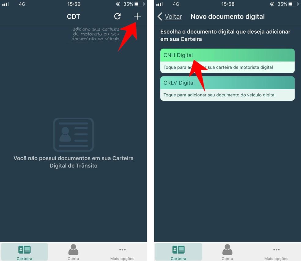 Adicione uma nova Carteira de Habilitação ao app CNH Digital — Foto: Reprodução/Rodrigo Fernandes