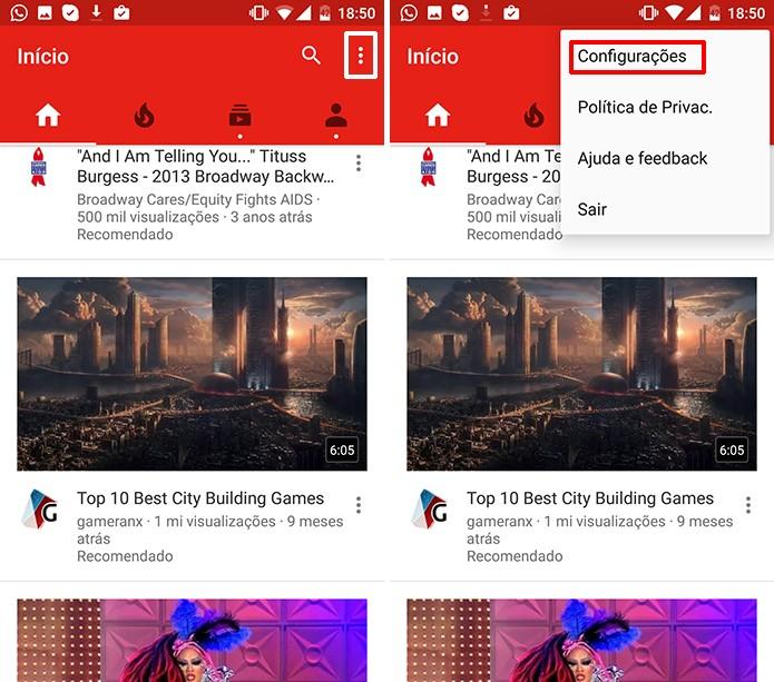 YouTube para Android pode ter reprodução automática desativada nas configurações (Foto: Reprodução/Elson de Souza)