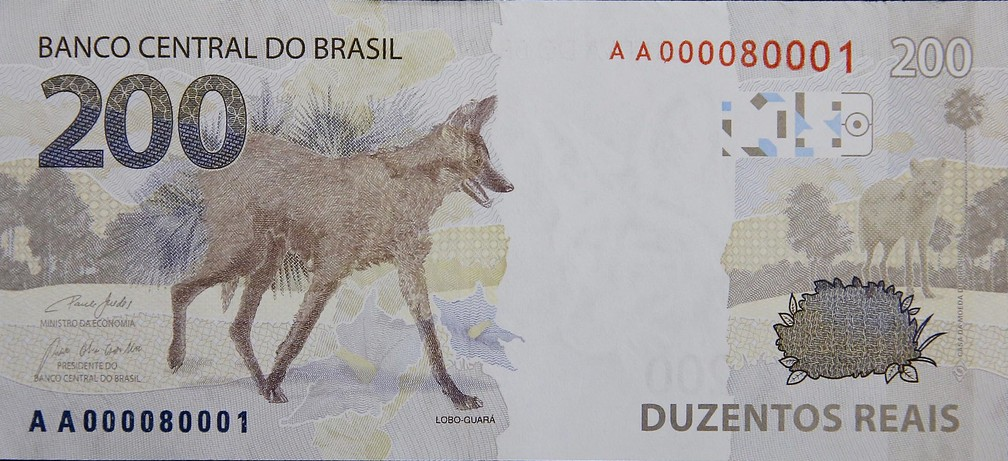 Verso da nova nota de R$ 200 com a imagem do lobo-guará no verso — Foto: Raphael Ribeiro/BC