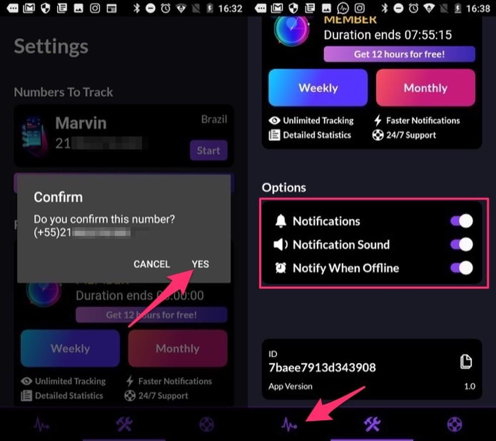 Ação para confirmar o monitoramente de um número e ativar notificações no app Rastreador on-line para WhatsApp — Foto: Reprodução/Marvin Costa