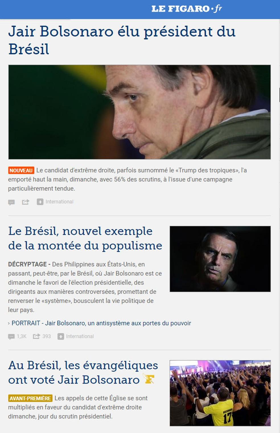 'Le Figaro' dedicou várias reportagens à vitória de Bolsonaro — Foto: Reprodução/Le Figaro