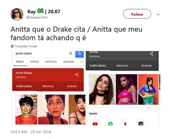 Tuíte sobre Anitta e Drake  (Foto: Reprodução / Twitter)