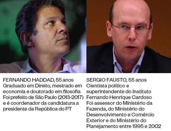 Fernando Haddad e Sergio Fausto (Foto: CICA NEDER | BRUNO SANTOS/AGÊNCIA O GLOBO)