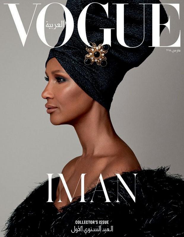 Iman na capa de março de 2018 da Vogue Arábia. (Foto: Getty Images, Imax Tree e Divulgação)