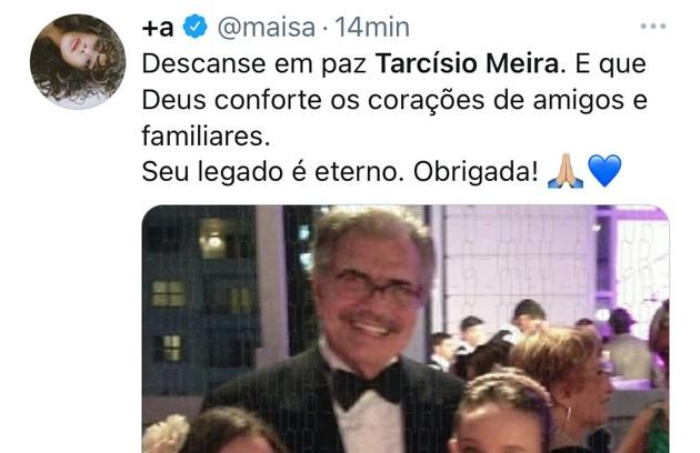 Maisa publicou uma foto em que aparece com o ator e com Larissa Manoela (Foto: Reprodução)