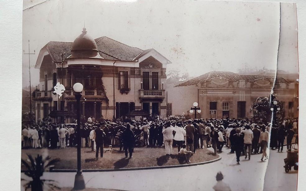 Inauguração do palacete durante o ano de 1922 em Ribeirão Preto, SP — Foto: Claudio Bauso/Arquivo pessoal