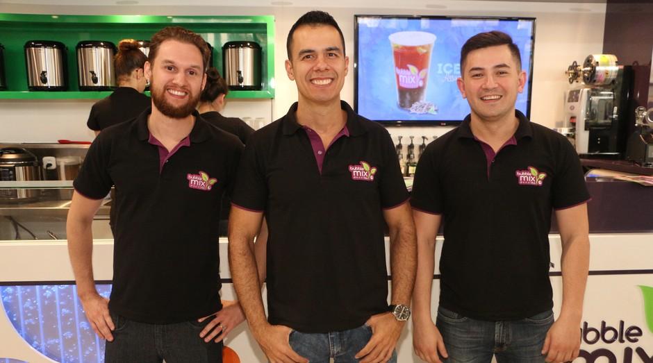 Rodrigo Balotin, Rogerio Teixeira e Alex Lin, fundadores da Bubble Tea (Foto: Divulgação)