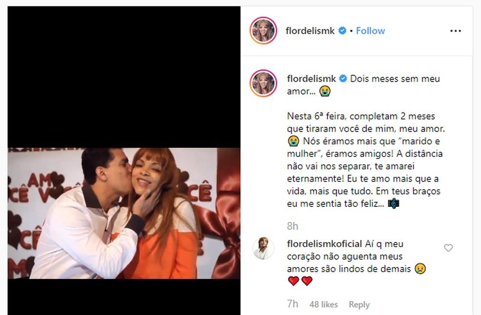 Em uma publicação na internet, Flordelis lamentou a morte do marido e postou um vídeo com depoimentos do casal — Foto: Reprodução Redes Sociais