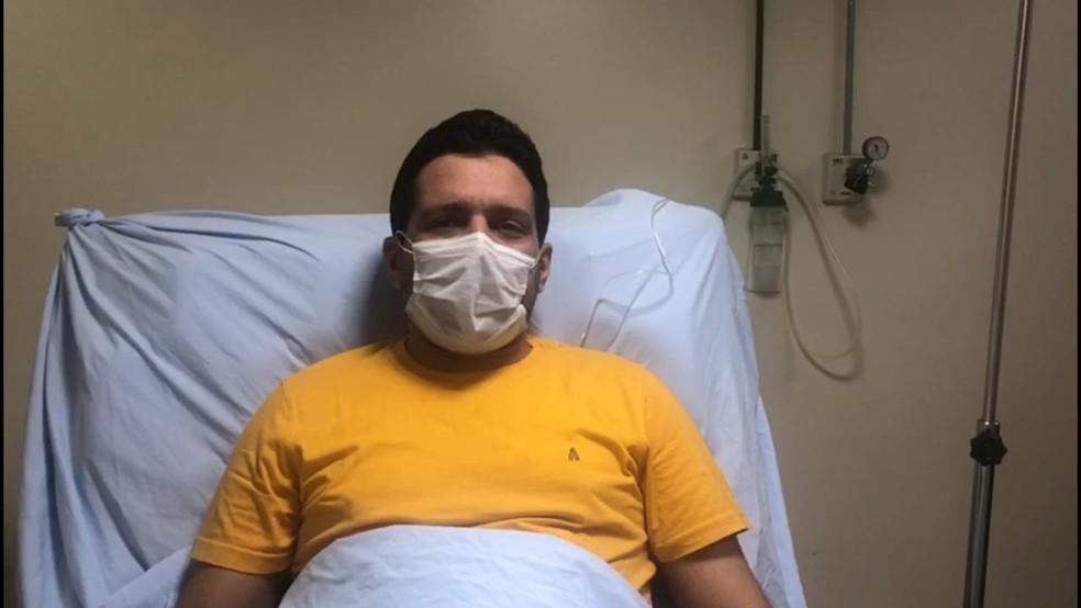 Marcelo Magno comemorou recuperação. — Foto: Reprodução