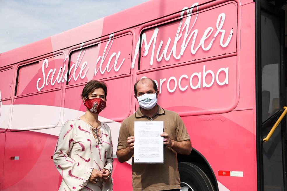 Layout de Ônibus Rosa foi escolhido por população de Sorocaba por voto popular — Foto: Reprodução/Prefeitura de Sorocaba