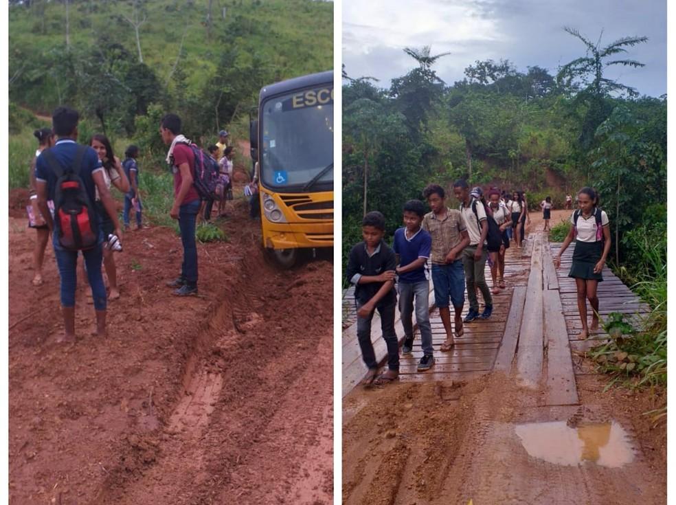 Quando o ônibus atola os alunos descem e caminham pela estrada para chegar até à escola. Na volta para casa, o problema se repete — Foto: Francisco Ferreira/Arquivo pessoal