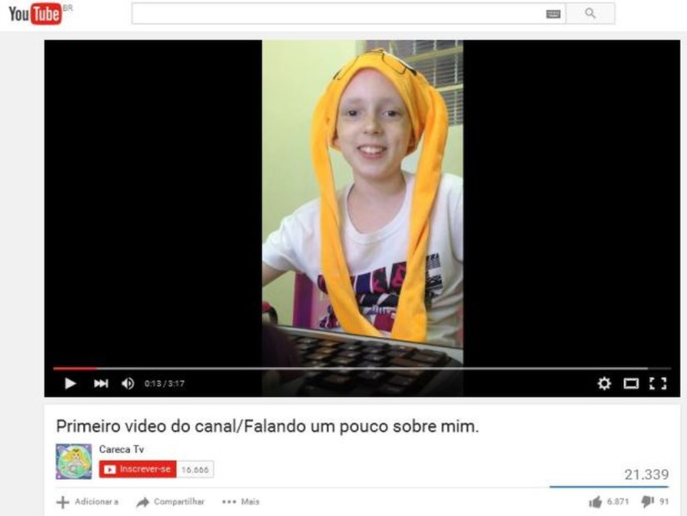 História de Lorena ficou famosa quando começou a relatar sobre tratamento em seu canal no YouTube (Foto: Reprodução/Youtube/Careca TV)