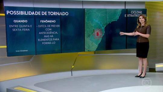 Meteorologistas dizem que temporais entre Sul, SP e MS aumentam risco de tornado