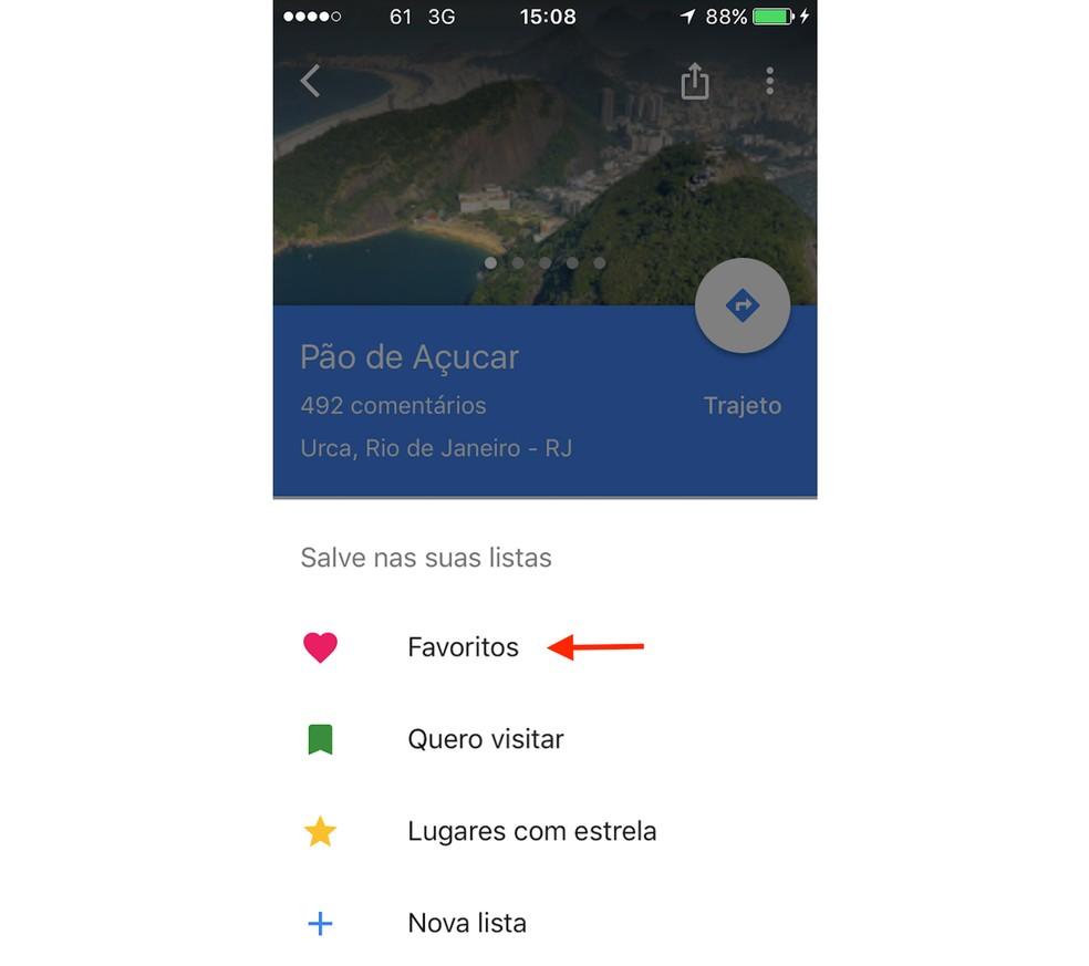 20bc8382e9637 ... Opção para salvar um local como favorito no Google Maps para iPhone  (Foto  Reprodução