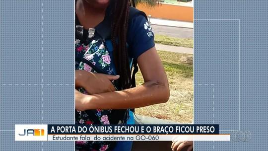 Estudante que ficou com braço preso em ônibus diz que ficou desesperada: 'Achei que ia morrer'