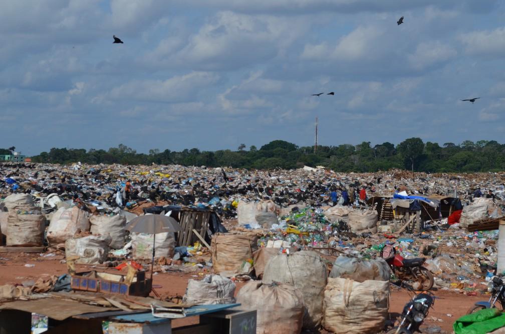 Plásticos separados são colocados em grandes sacos e depois delados à coperativa (Foto: Jheniffer Núbia / G1)