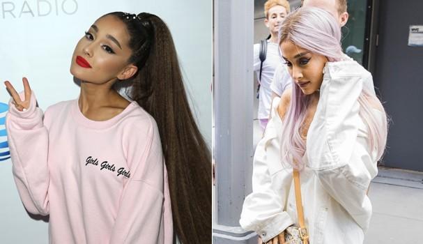 Ariana Grande aposta nos cabelos lavanda (Foto: Getty Images e Back Grid)