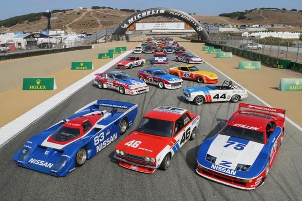 A história da Nissan nas pistas foi relembrada em Laguna Seca (Foto: Divulgação)